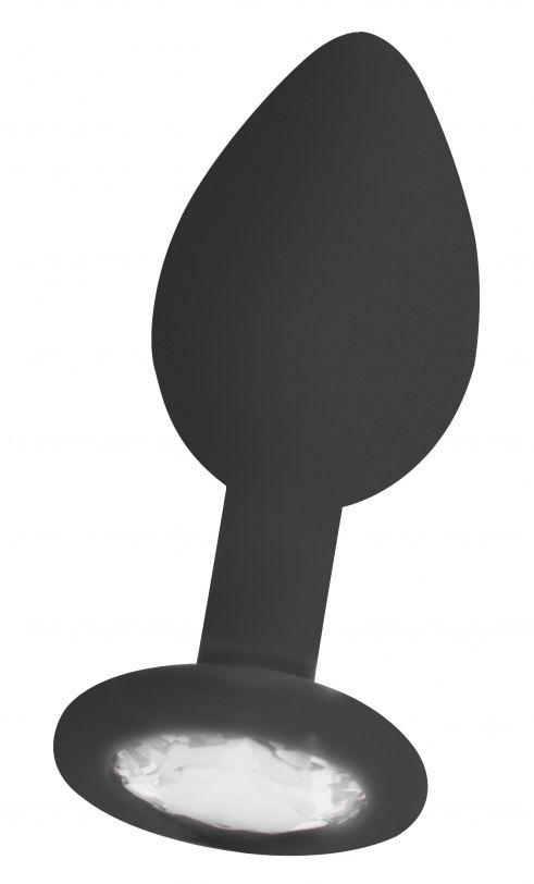 Черная анальная пробка с прозрачным кристаллом Diamond Butt Plug - 7,3 см. OU181BLK от Shots Media BV