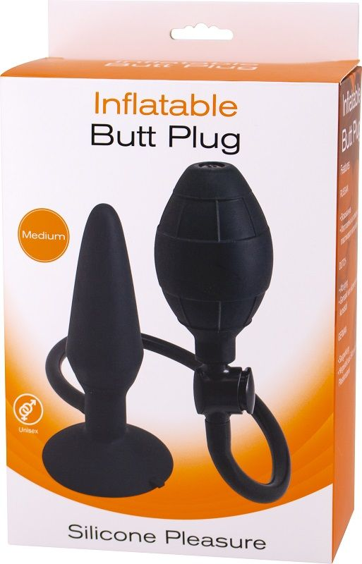 Анальная пробка с функцией расширения Inflatable Butt Plug Medium - 14,2 см.