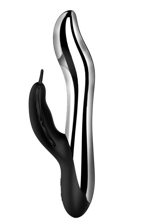 Черный вибратор с подсветкой NAGHI NO.37 RECHARGEABLE LIGHT-UP VIBE - 24 см.