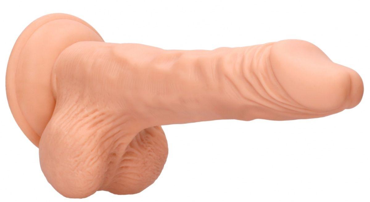 Телесный фаллоимитатор Realistic Dildo With Balls - 20 см.