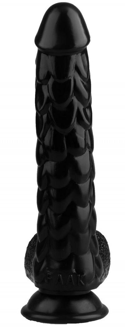 Черный реалистичный фаллоимитатор с чешуйками на присоске - 24 см.