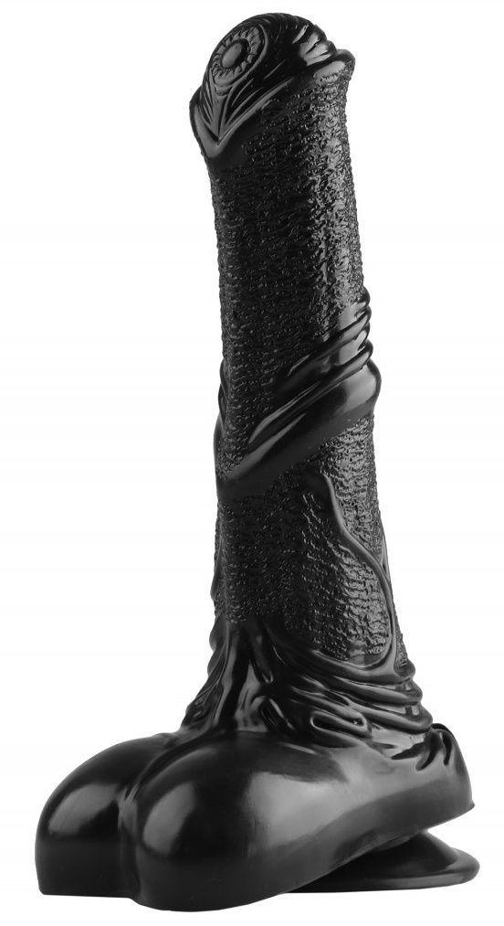 Черный фаллоимитатор-реалистик с мошонкой - 25 см.