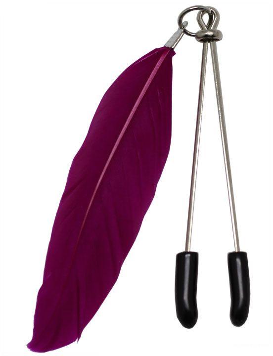 Зажимы для груди с фиолетовыми пёрышками