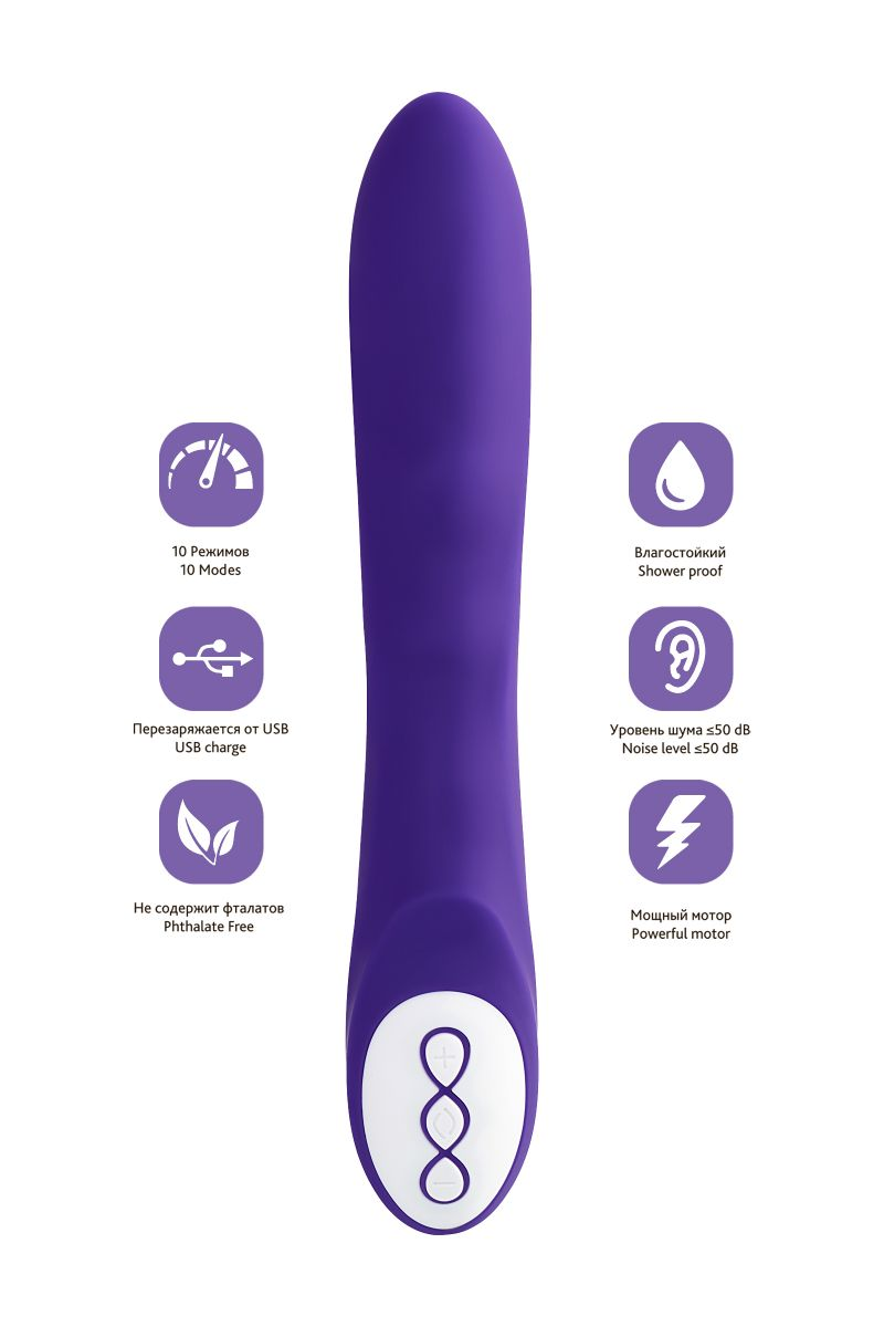Нереалистичный фиолетовый вибратор SYRIN - 21 см.