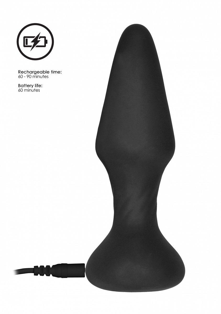 Черный анальный вибромассажер N 81 Rechargeable Remote Controlled Butt Plug - 14 см.