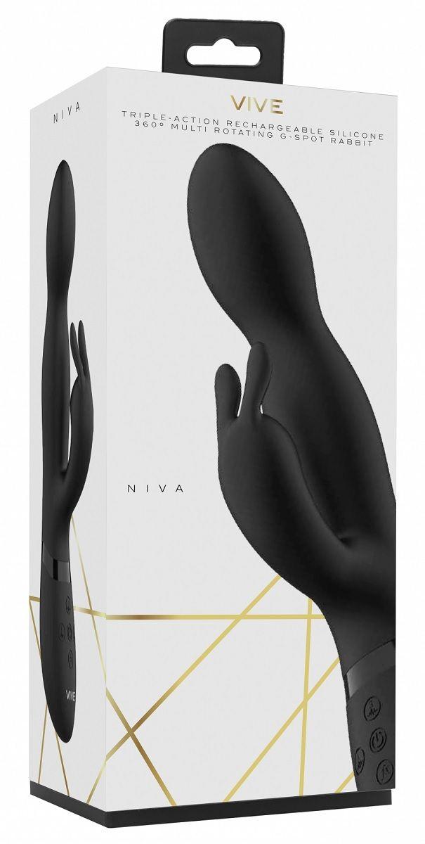 Черный вибромассажер-кролик Niva - 21,5 см.