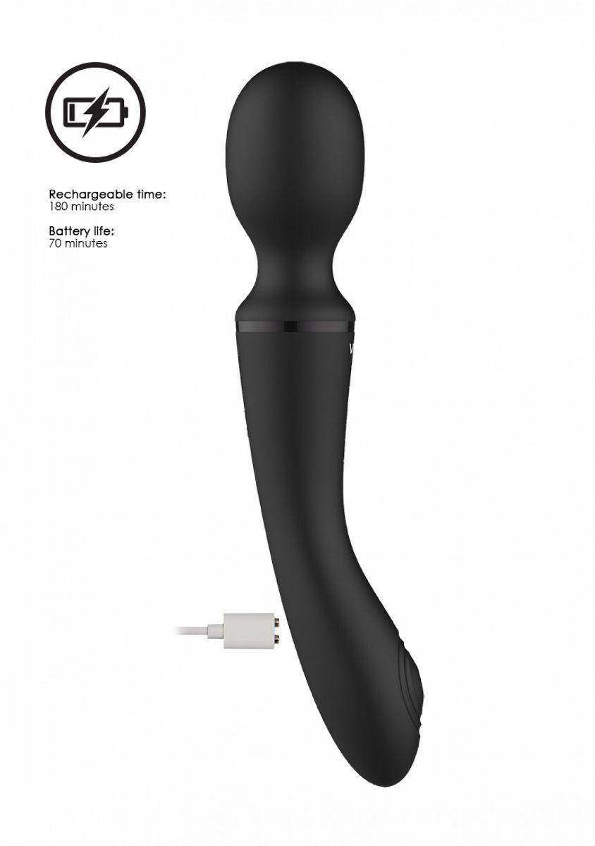 Черный вибромассажер Enora - 22 см.