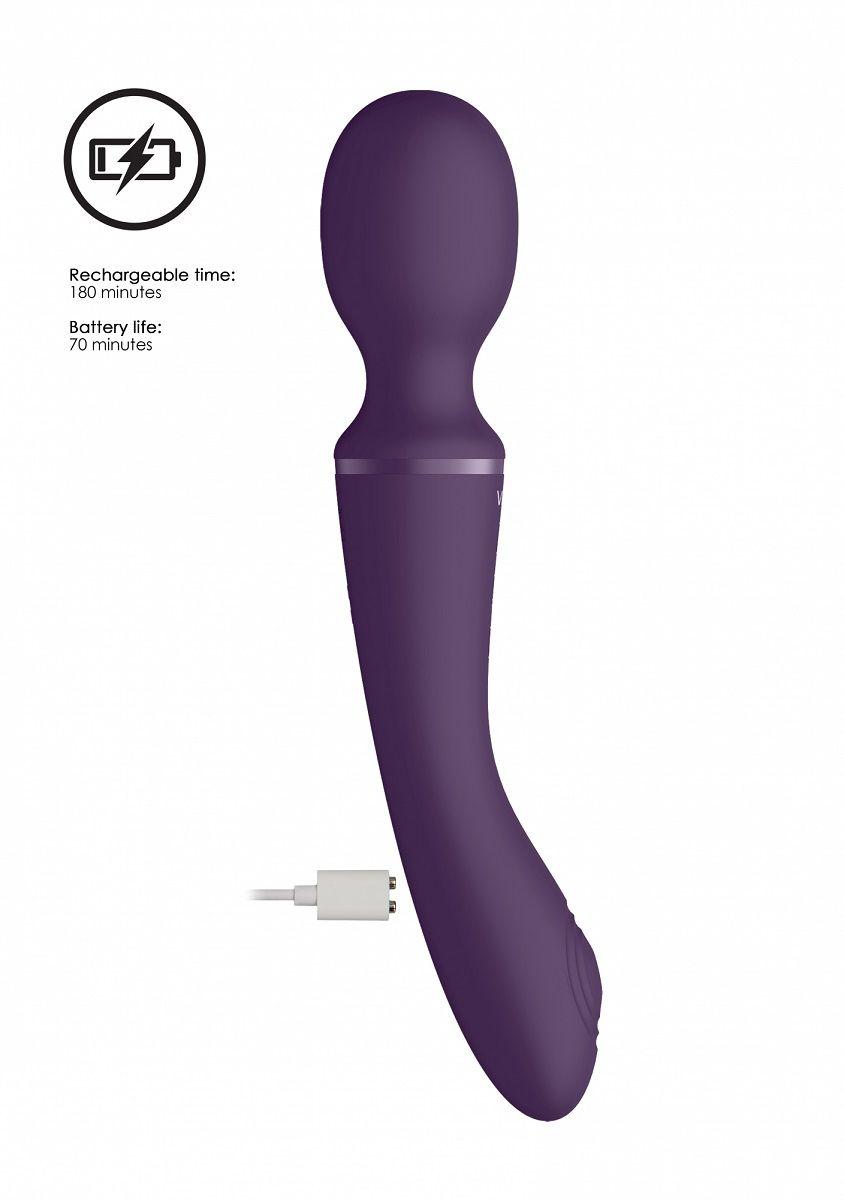 Фиолетовый вибромассажер Enora - 22 см.
