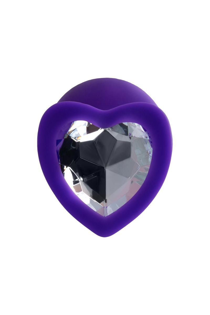Фиолетовая анальная втулка Diamond Heart с прозрачным кристаллом - 8 см.