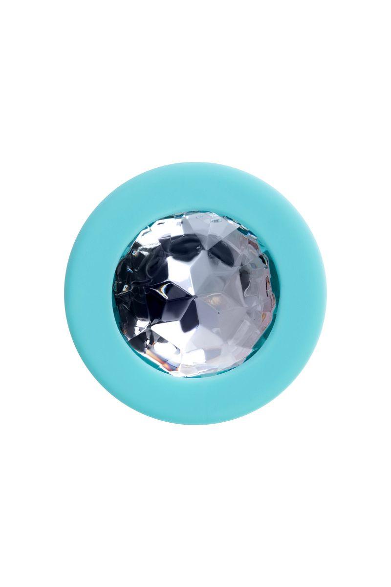 Мятная анальная втулка Brilliant с прозрачным кристаллом - 8 см.
