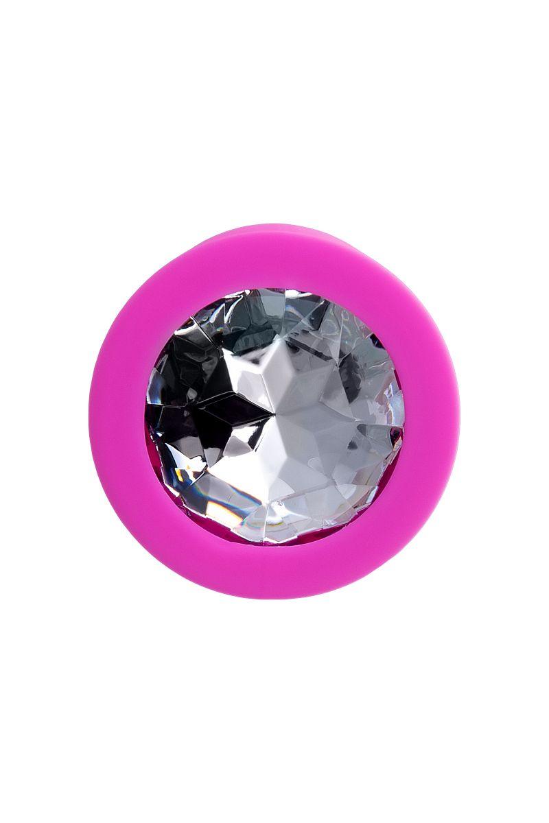 Розовая анальная втулка Brilliant с прозрачным кристаллом - 7 см.