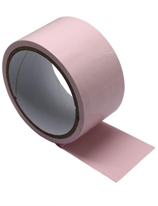 Розовый скотч для бондажа - 17 м.