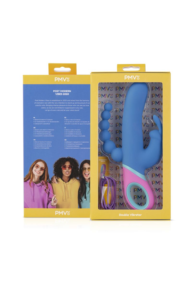 Синий вибратор Vice с 2 дополнительными отростками - 23 см.