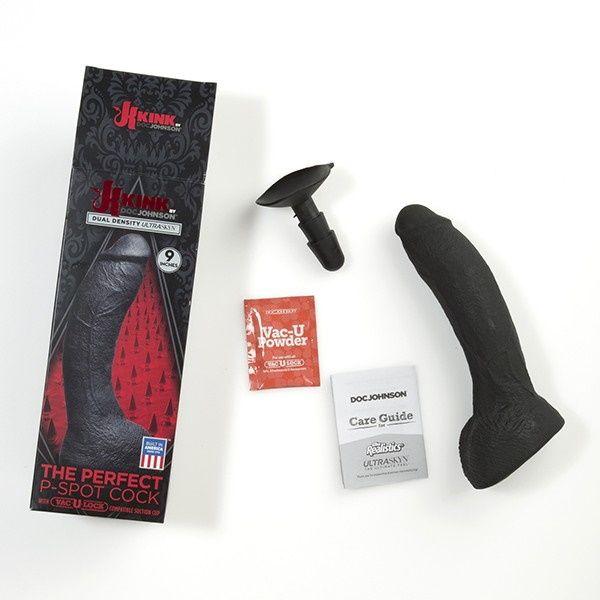 Черный фаллоимитатор-насадка The Perfect P-Spot Cock With Removable Vac-U-Lock Suction Cup - 22,9 см.