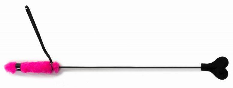 Черный стек с сердцем и розовой ручкой - 61 см.