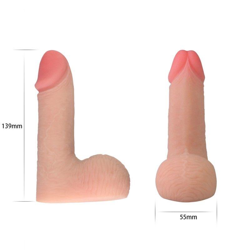 Накладной телесный фаллос - 13,9 см.