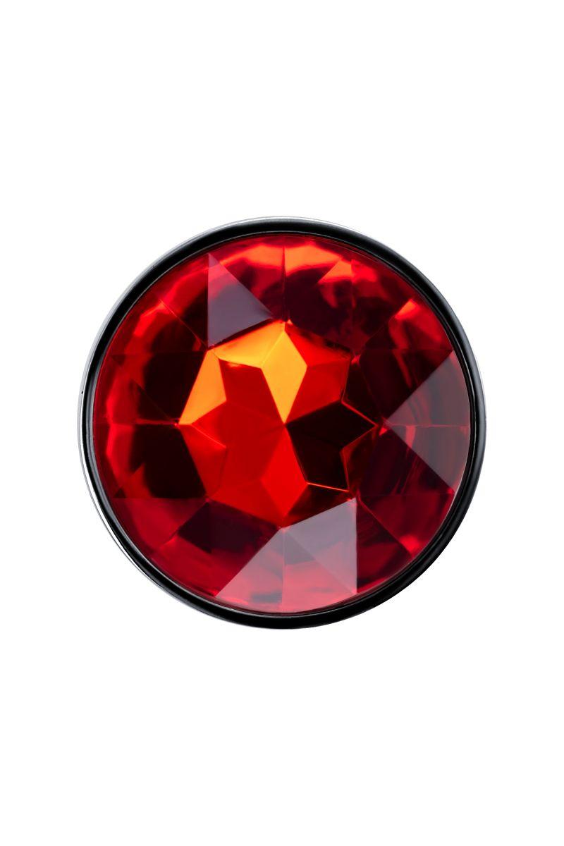 Изящная ребристая анальная втулка с красным кристаллом - 7 см.