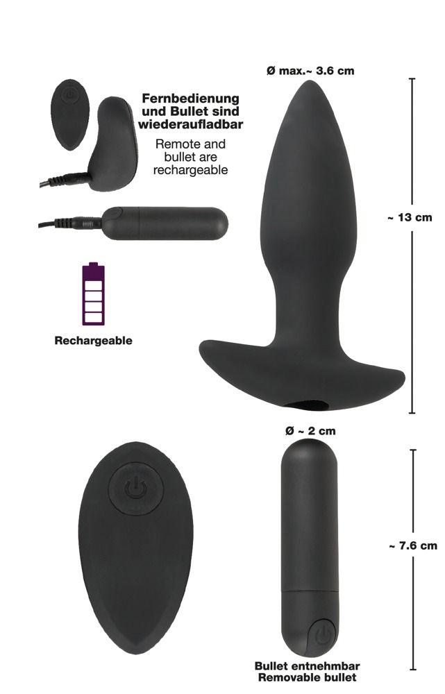 Черная анальная вибропробка с пультом ДУ Remote controlled Butt Plug - 13 см.