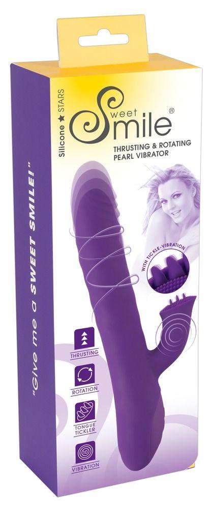 Фиолетовый вибратор-ротатор Thrusting   Rotating - 24,7 см.
