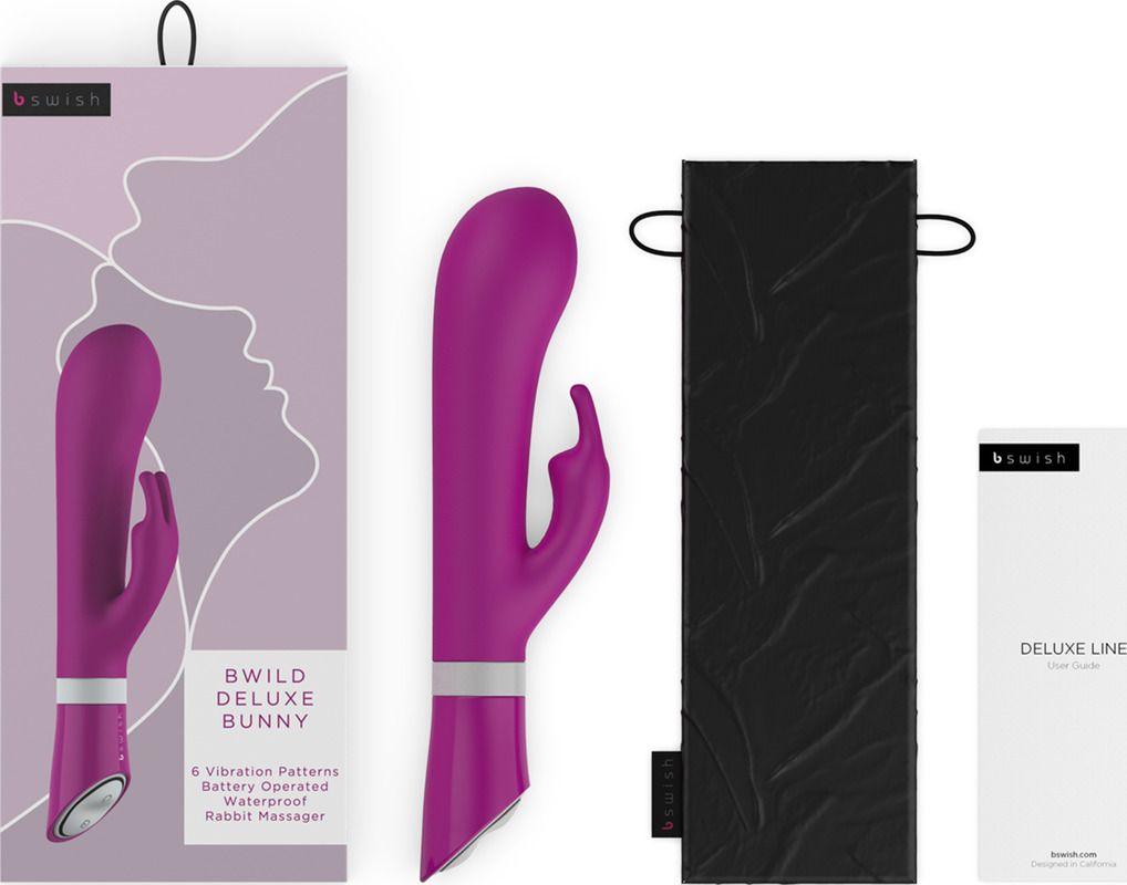 Ярко-розовый вибратор-кролик Bwild Deluxe Bunny - 19,3 см.