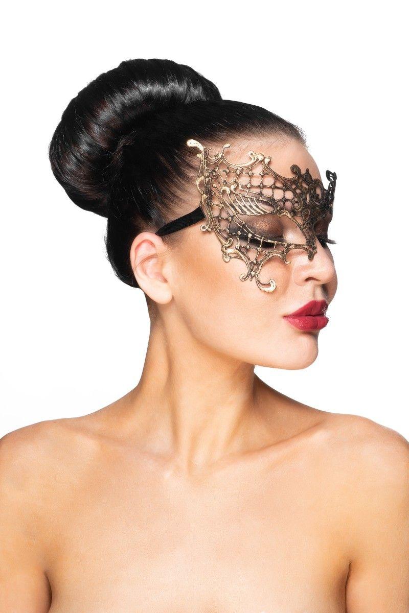 Золотистая карнавальная маска  Гемма
