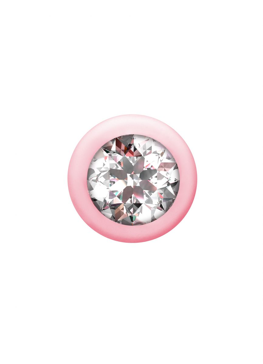 Розовая анальная цепочка с кристаллом Buddy - 17,7 см.