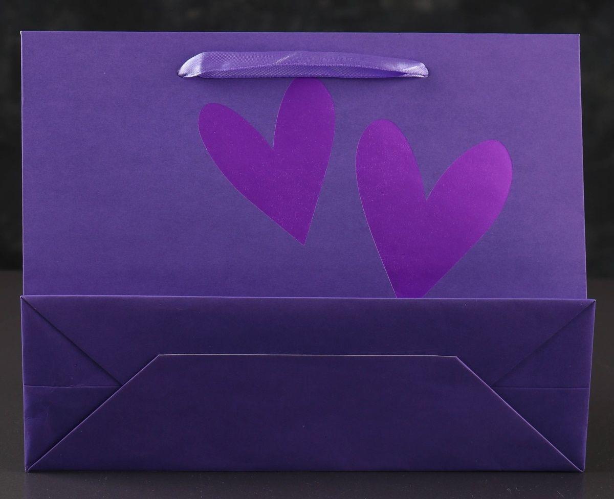 Бумажный пакет «Сияющие сердца» - 18 х 23 см.