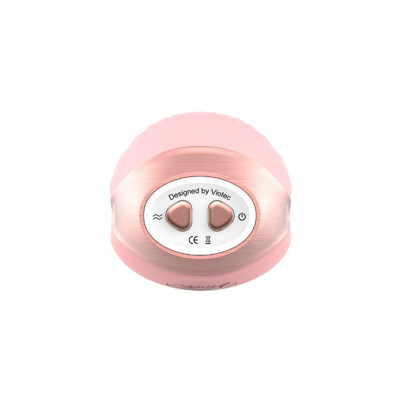 Розовый вибростимулятор с вакуумной стимуляцией Cherubic