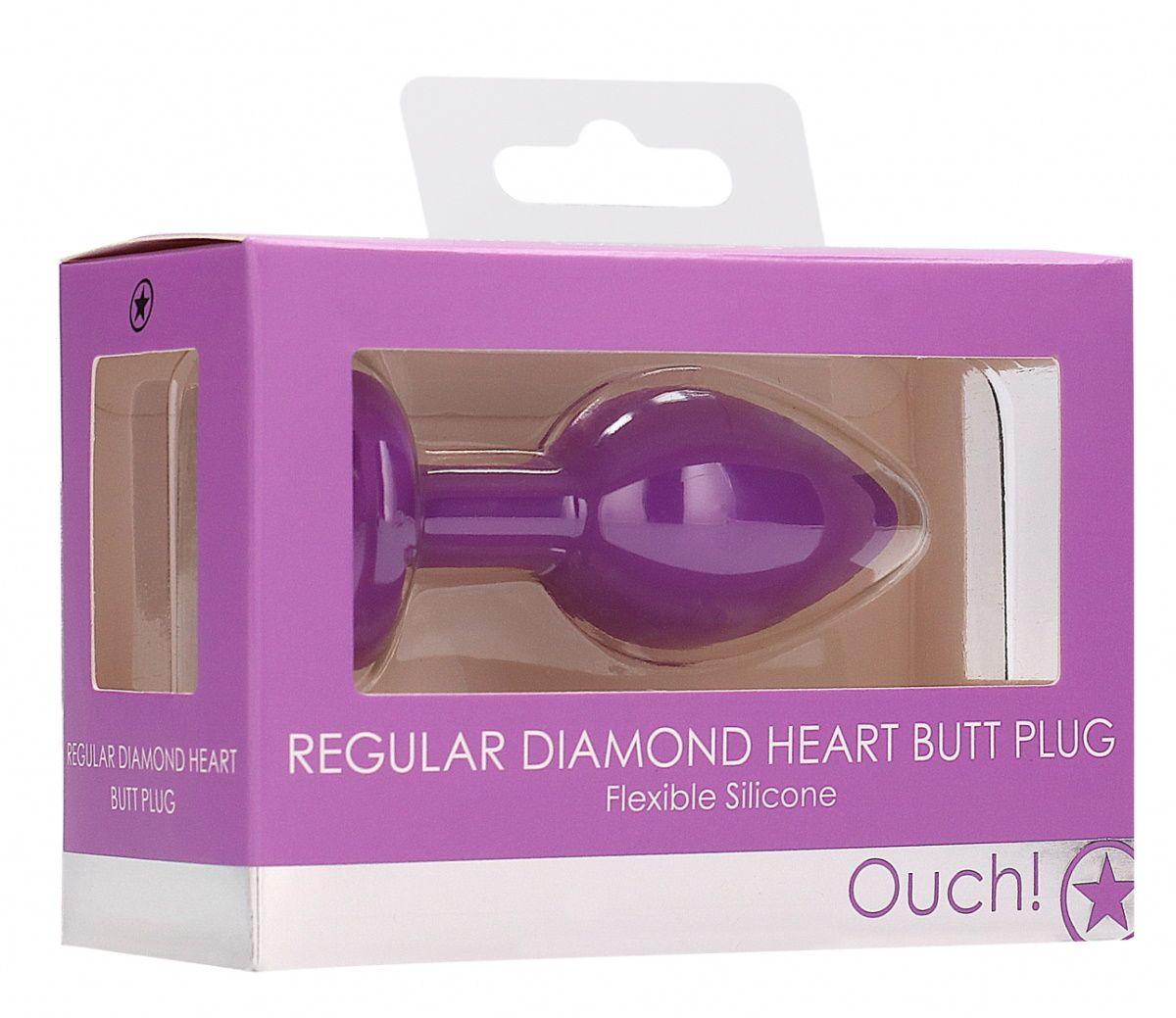 Фиолетовая анальная пробка с прозрачным стразом Diamond Heart Butt Plug - 7,3 см.