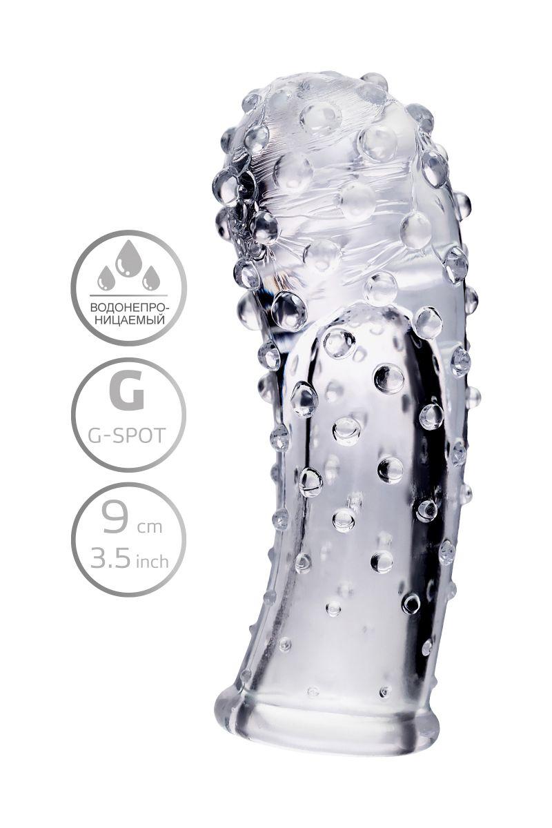 Прозрачная рельефная насадка на палец Gexa - 9 см.