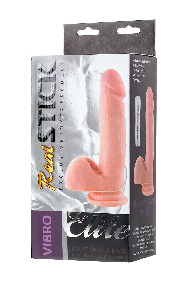 Реалистичный вибратор TOYFA RealStick Elite Vibro - 20 см.