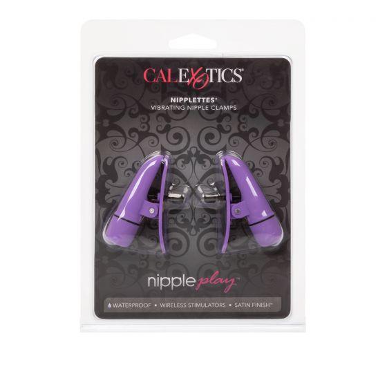 Фиолетовые зажимы-прищепки с вибрацией Nipplettes