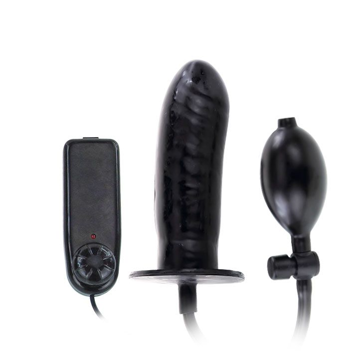 Чёрный расширяющийся анальный вибратор - 15,5 см.