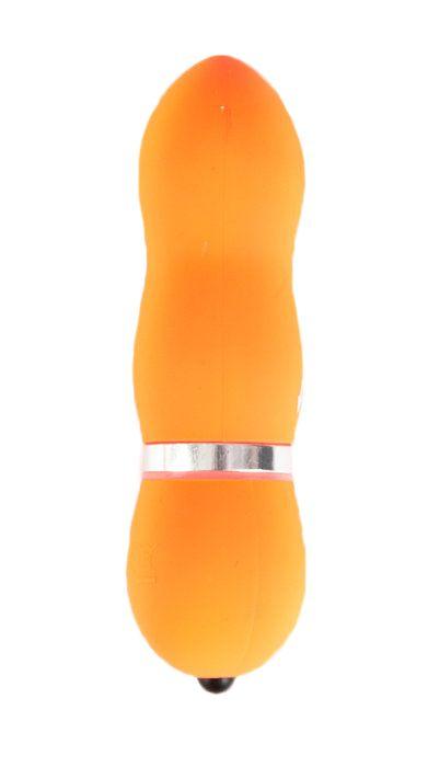 Оранжевый водонепроницаемый мини-вибратор - 10 см.