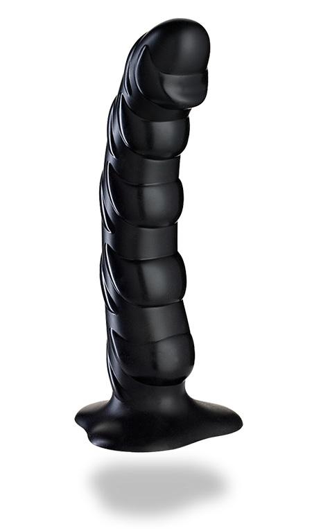Чёрный рельефный фаллоимитатор Tiger - 22 см.