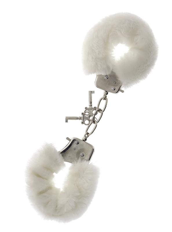 Металлические наручники с белой меховой опушкой METAL HANDCUFF WITH PLUSH WHITE