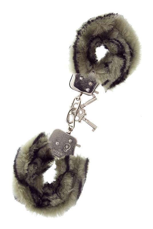 Металлические наручники с чёрно-серой меховой опушкой