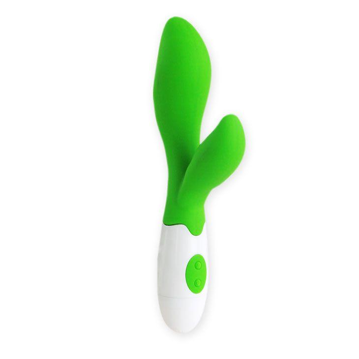 Зеленый вибратор Owen с клиторальным отростком - 20 см. BI-014217 от Baile