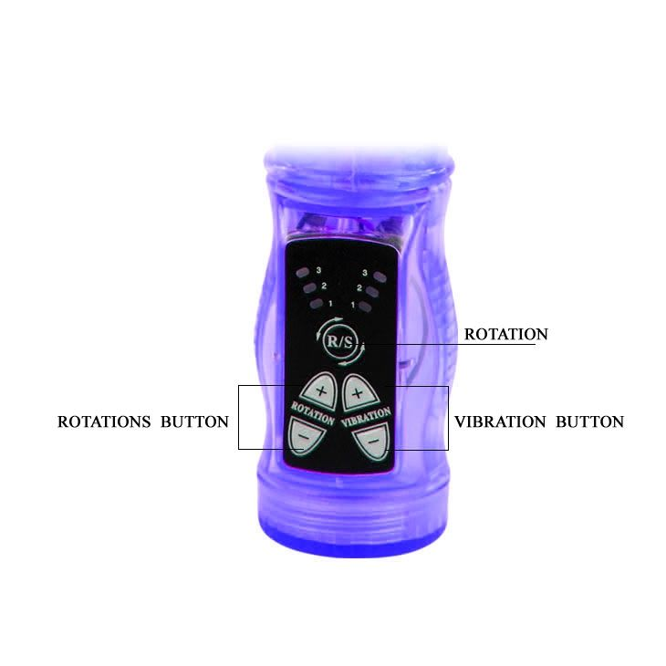 Фиолетовый вибратор-кролик с функцией ротации - 21,5 см.