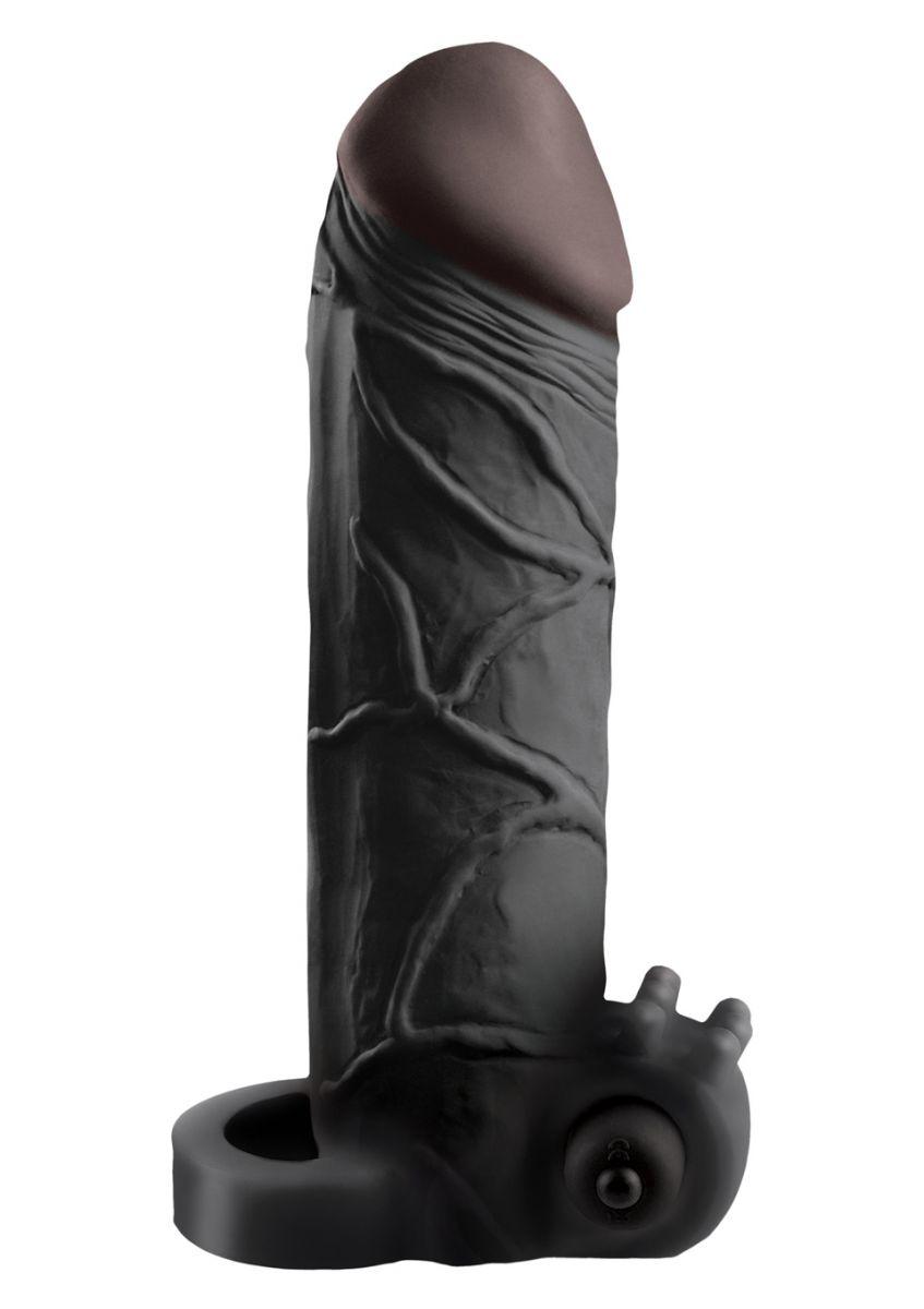 Чёрная вибронасадка с кольцом Vibrating Real Feel 2 Extension - 16 см.