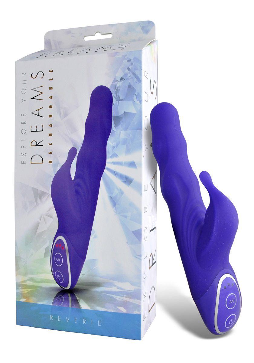 Фиолетовый вибромассажер с клиторальным стимулятором - 19 см. D015V5X047V5 от Seven Creations