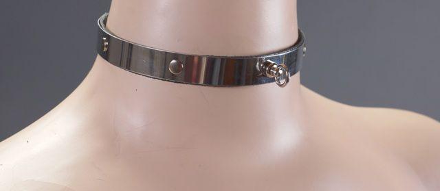 Узенький металлический ошейник с кольцом