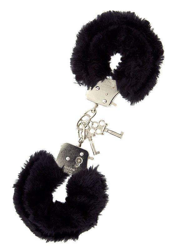 Металлические наручники с чёрной меховой опушкой