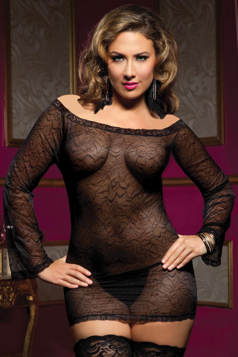Прозрачное платьице увеличенного размера с длинными рукавами и трусиками