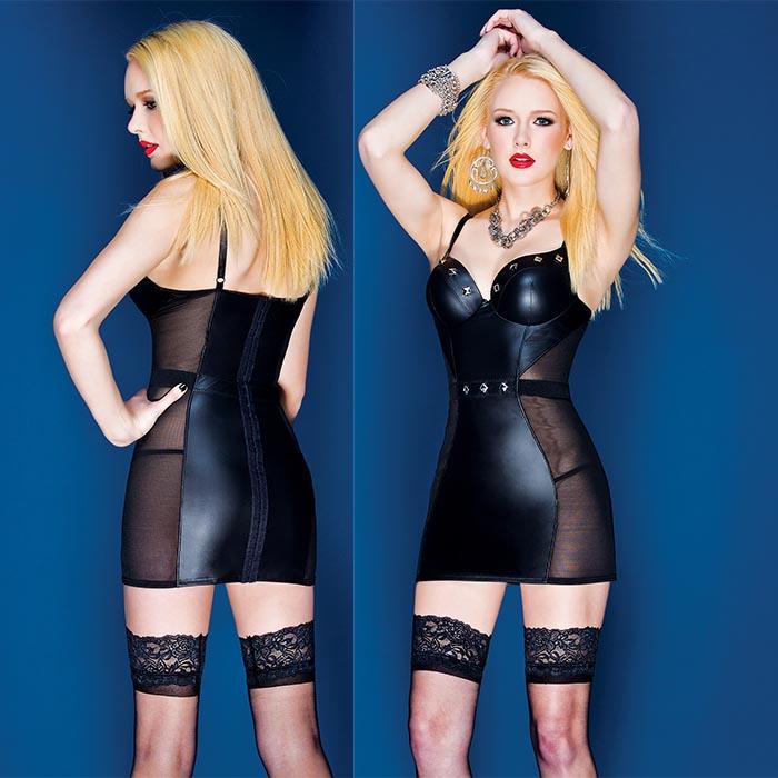 Черное короткое платье из искусственной кожи