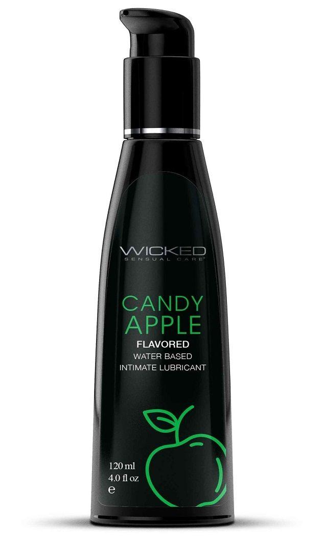 Лубрикант со вкусом сахарного яблока Wicked Aqua Candy Apple - 120 мл.