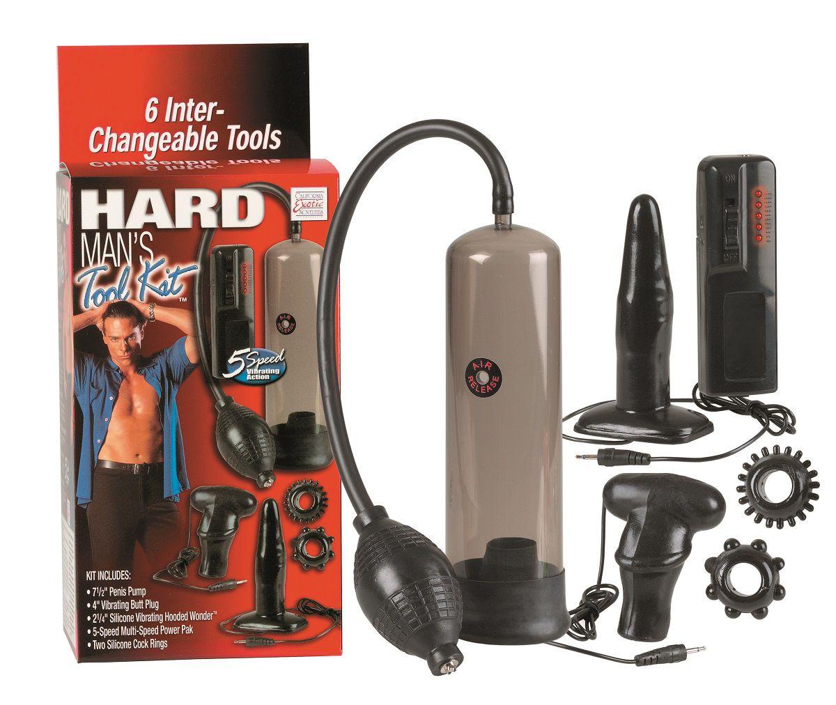 Набор для мужчин Hard Mans Tool Kit: вакуумная помпа, анальная пробка, эрекционные кольца и виброяичко - фото 139436