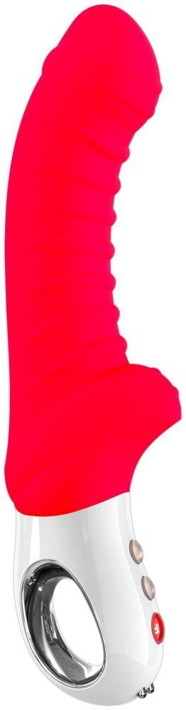 Красный перезаряжаемый вибратор Tiger G5 - 21,7 см.