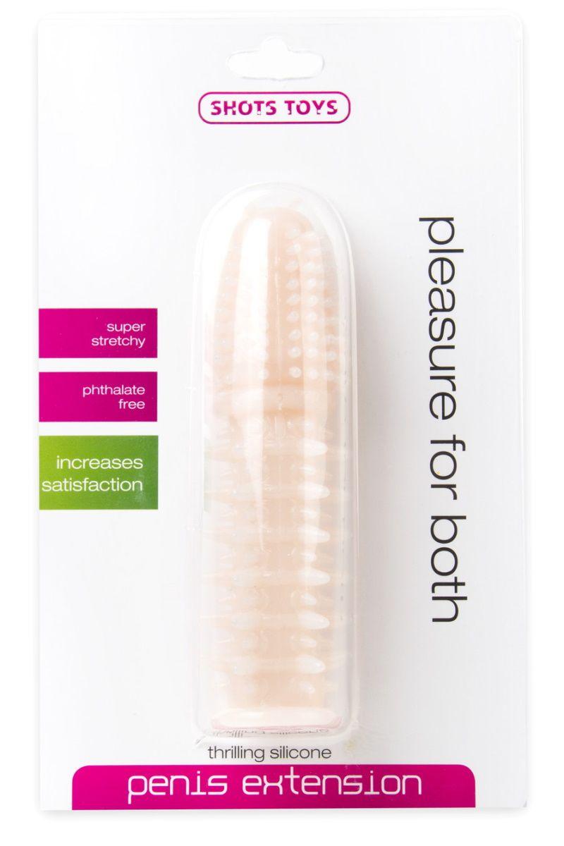 Телесная шипованная насадка на пенис с выпуклой головкой - 13,5 см.