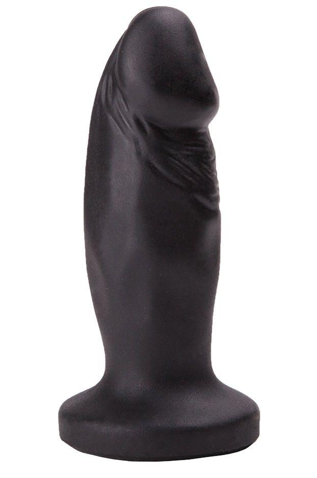 Чёрный анальный фаллос с ограничительным основанием - 12 см.